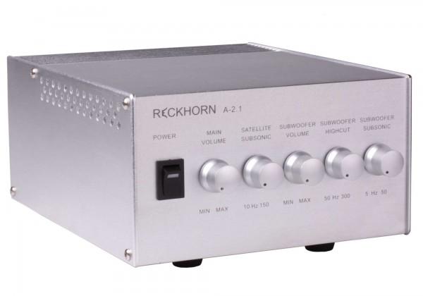 A-2.1 Stereo Verstärker + Mono Subwoofer mit Frequenzregelung silberfarben