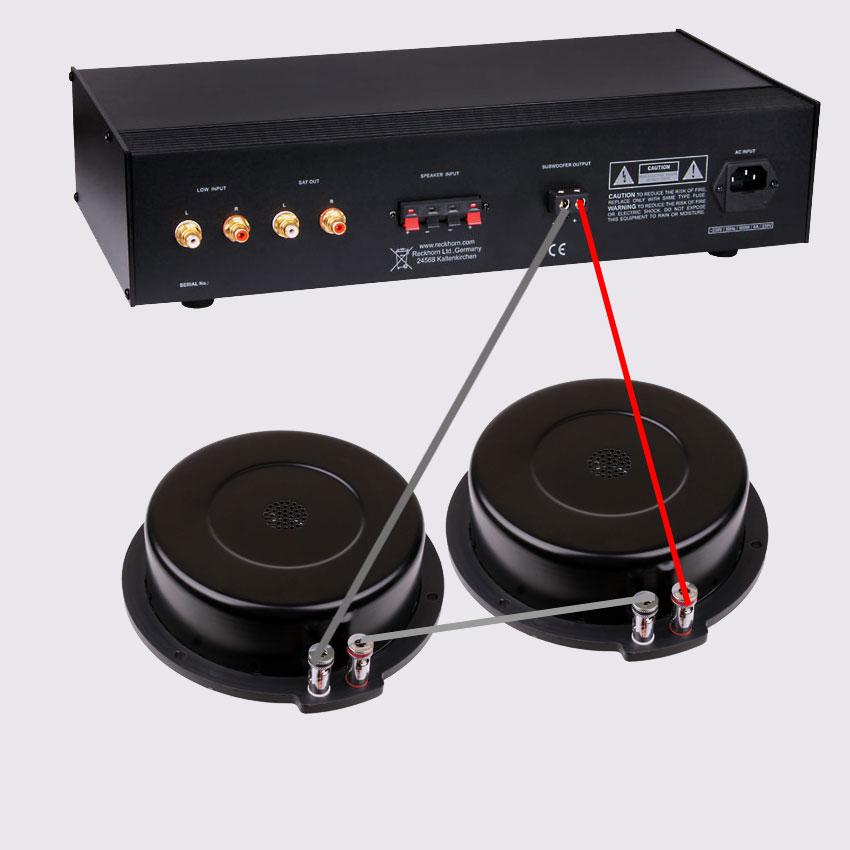 Anschlußvariante für den BS-200i Reihenschaltung = 8 Ohm stabiler gegen Überlast