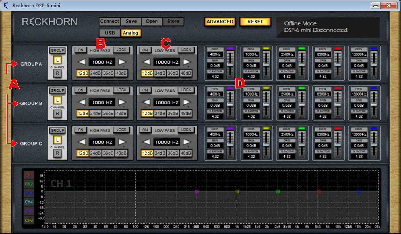 DSP-6 mini Advanced user interface