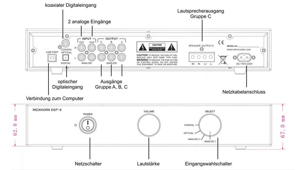 DSP- 6 digital speaker crossover pre amp + power amp H Amp Wiring Diagram Power on